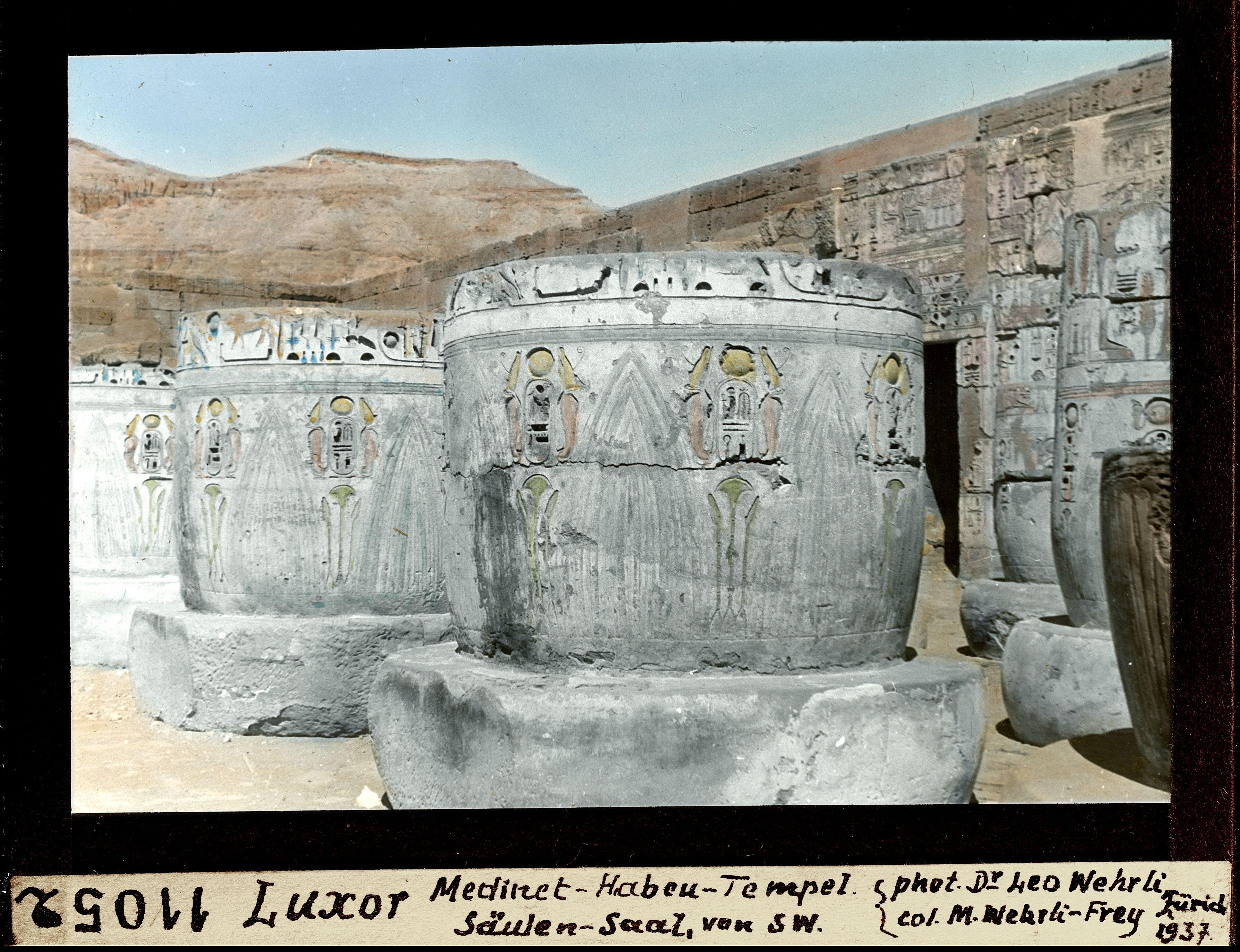 Мединет-Абу. Погребальный храм Рамсеса III. Колонный зал с юго-запада