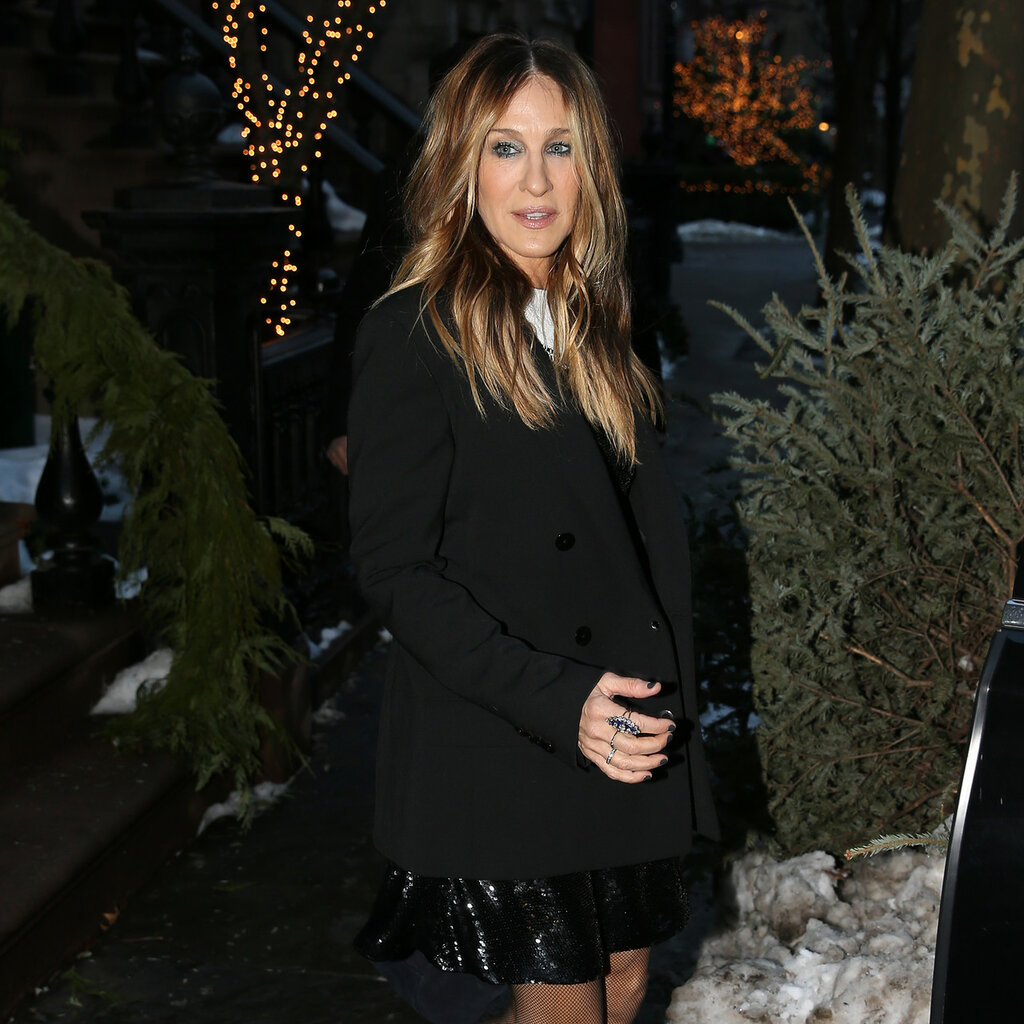 Actress Sarah Jessica Parker leaves for her appearance on  in New York City, New York.