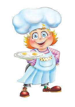 Международный День повара. Повар с яичницей на блюде