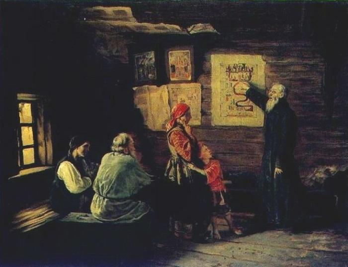 Василий Пукирев, 1868 год Вместо того чтобы воспитывать среди непросвещенного люда мораль, церковник