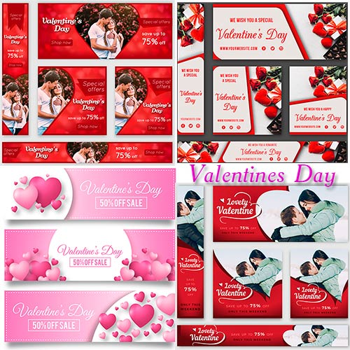 Вектор - Банеры ко дню Влюблённых / Valentine's Day banner