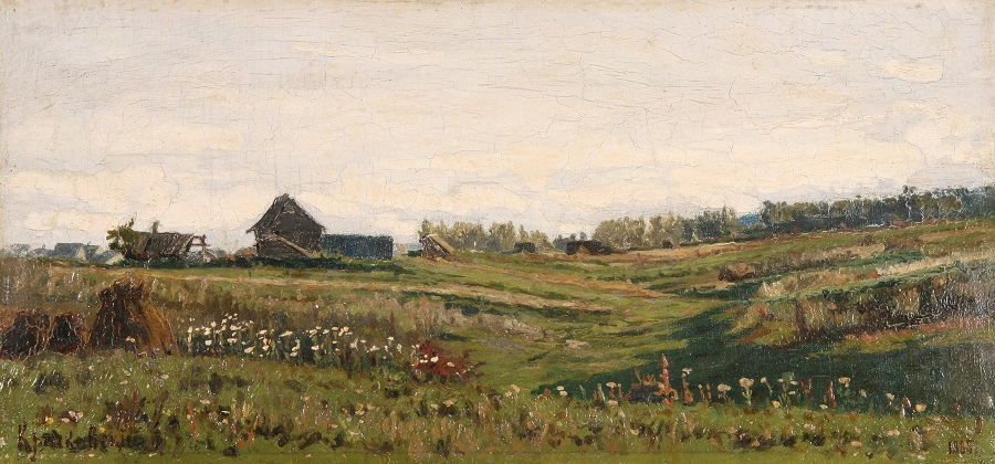 Summer Meadows by the Village , 1885