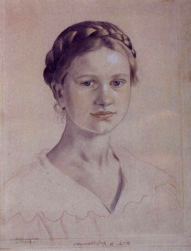 портрет И.Б.Кустодиевой, дочери художника, 1919 год.