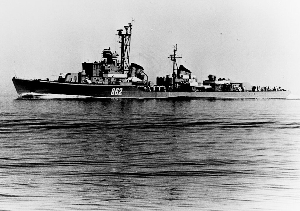 Soviet SKORYY Class Destroyer photographed during 1961 in the Baltic Sea Area.