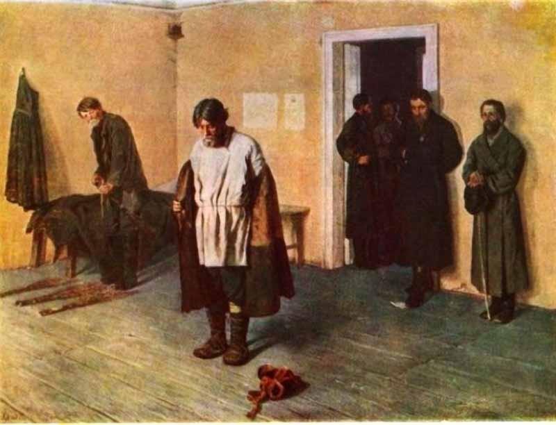 Сергей Коровин, 1884 год Розгами потчевали и провинившихся крестьян. На картине Коровина запечатлена