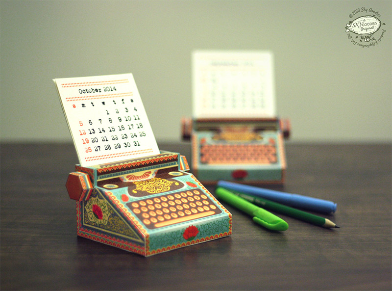 DIY Printable Paper Typewriter Calendars (3 pics)