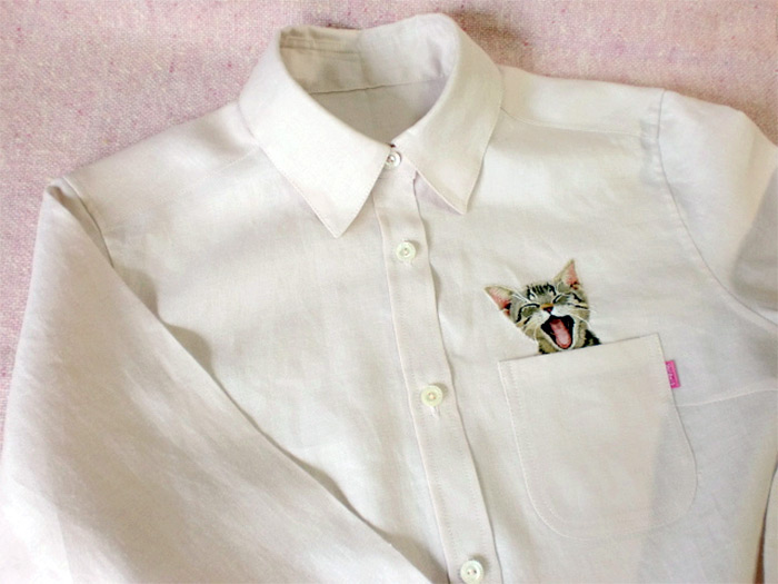 Artist Hiroko Kubota Embroiders Popular Internet Cats on Shirts at the Request of Her Son