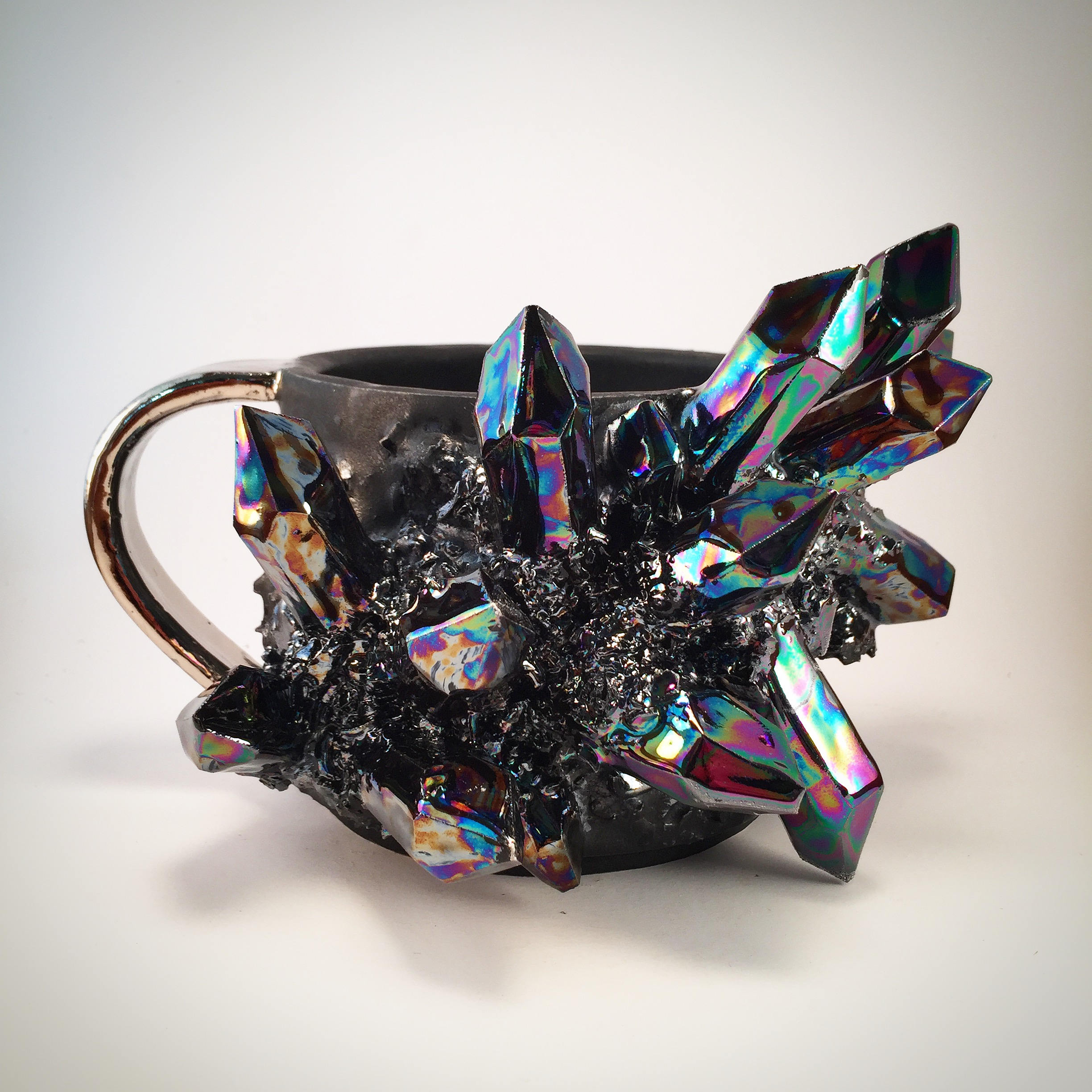 Colorful Crystal Explosions on Ceramic Vessels by Collin Lynch