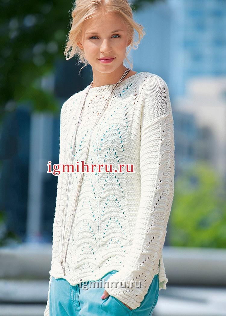 Белый пуловер с ажурным и рельефным узорами. Вязание спицами