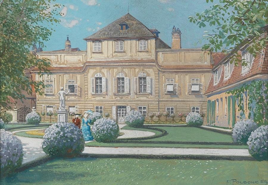 Barockschloss und Park im Sonnenschein