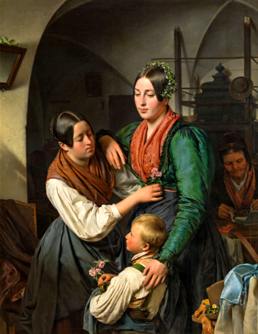 A bride is being adorned for her wedding , 1845.jpg