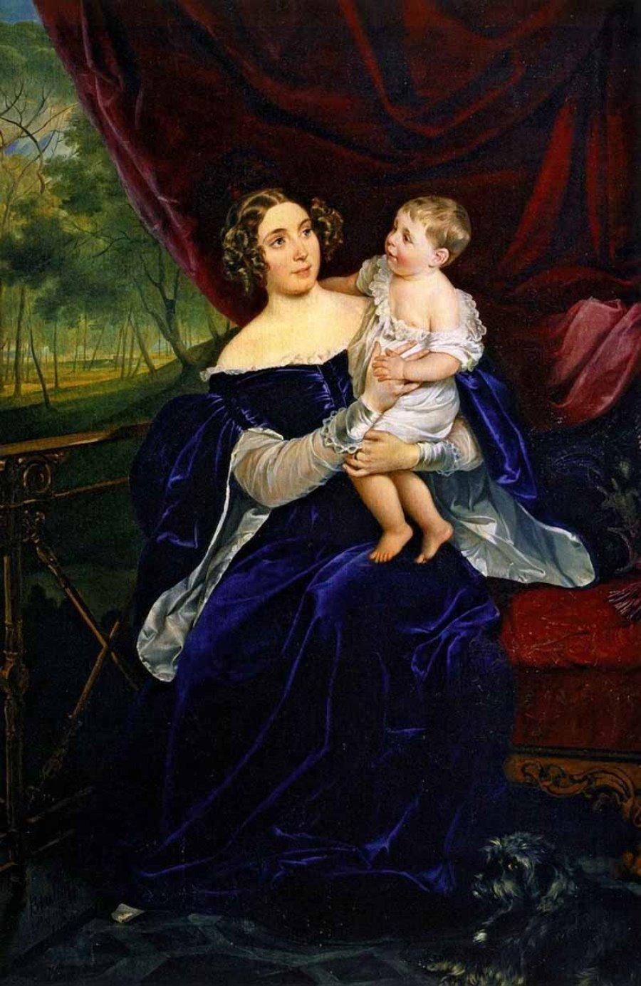 Портрет графини О.И.Орловой-Давыдовой с дочерью.