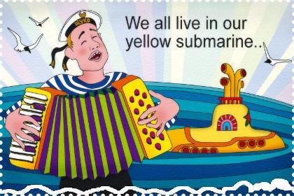 Картинки. С Днем моряка-подводника. Желтая субмарина
