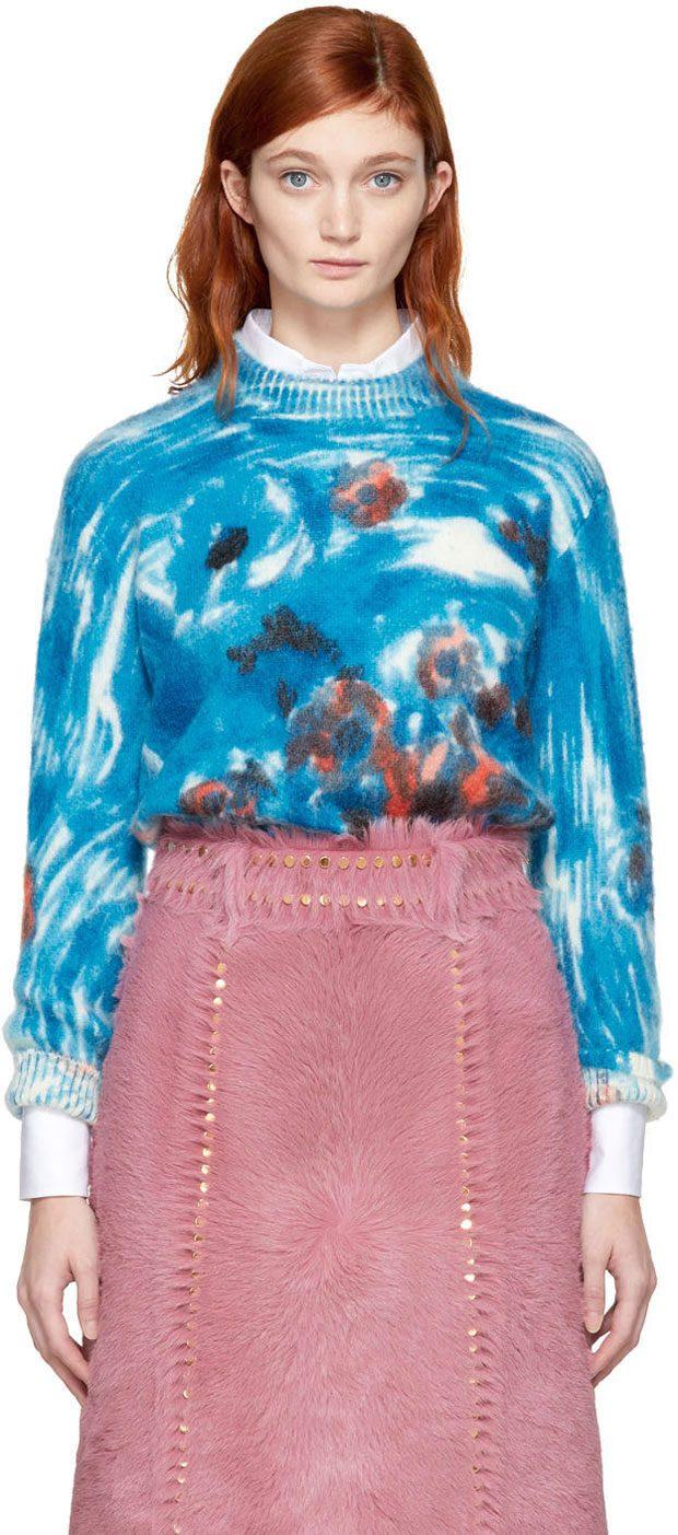 PRADA  Blue Mohair Daisy Crewneck Sweater