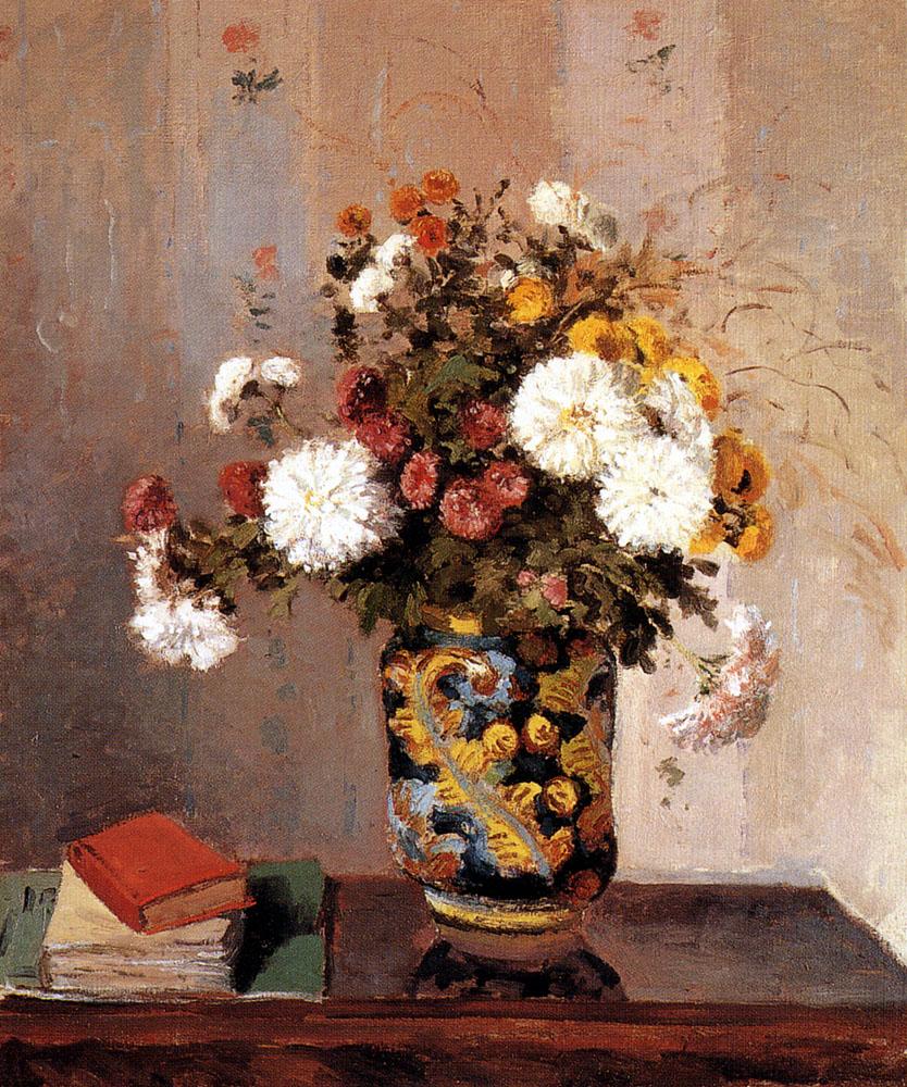 Камиль Писсарро. Хризантемы в китайской вазе.