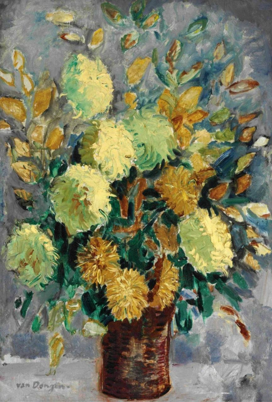 Кес Ван Донген. Ваза с хризантемами.