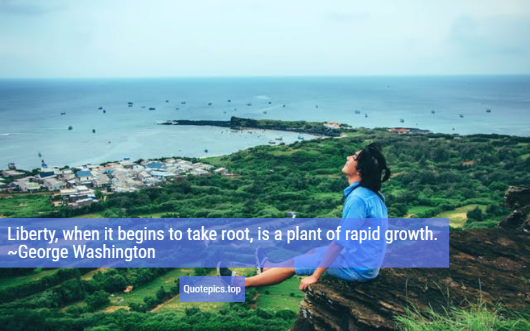 Liberty, when it begins to take root, is a plant of rapid growth. ~George Washington