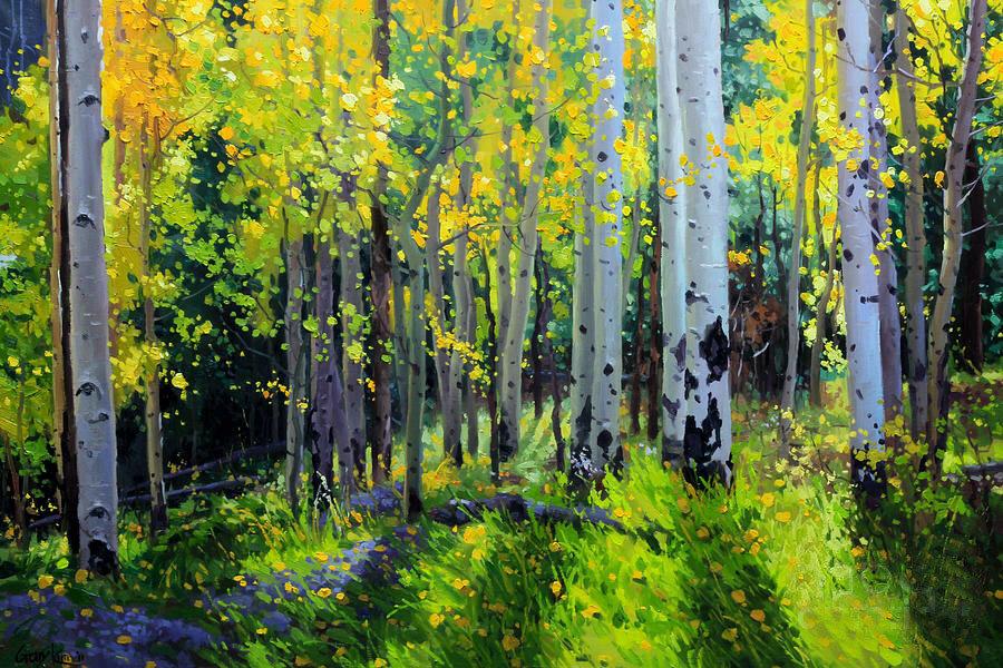 Gary Kim. Fall Aspen forest