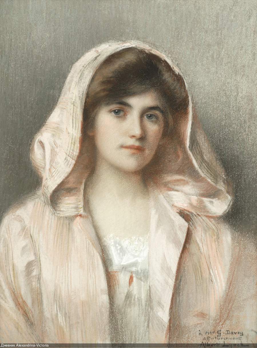 Portrait of a young lady in a pink cloak