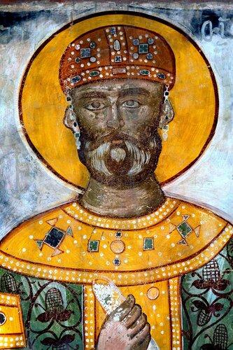 Святой Благоверный Давид Возобновитель (Строитель), Царь Иверии и Абхазии. Фреска монастыря Гелати, Грузия.
