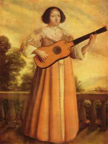 Французский художник Августин Квеснел Augustin Quesnel (1595 - 1661) - Гитаристка
