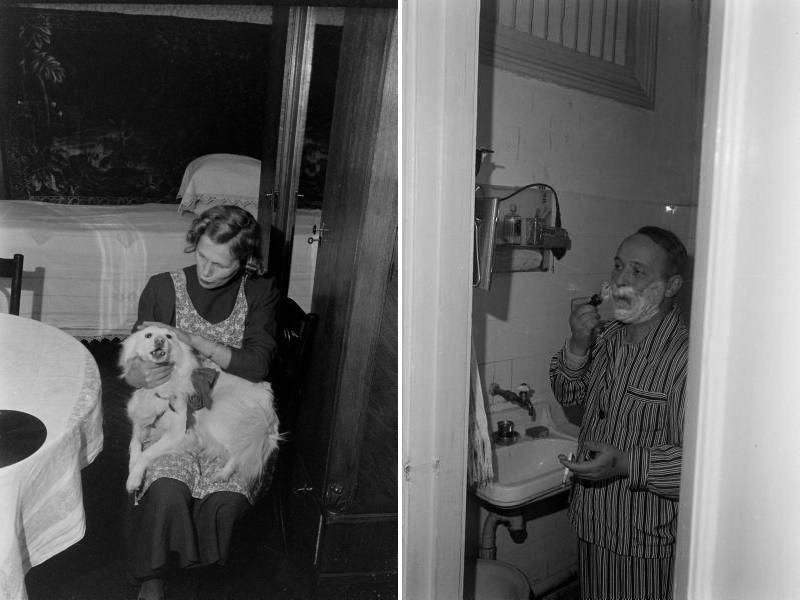 Жили с сыном и собакой. Комнат у них было, по-видимому, две — спальня и столовая. Счастливые люди!