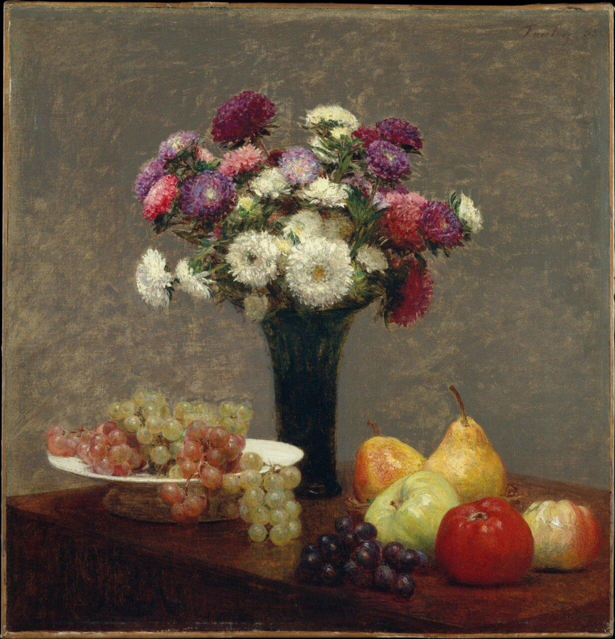 Анри Фантен-Латур. Астры и фрукты на столе..jpg