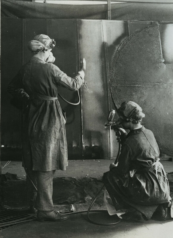 British women painting planes at aeroplane factory near Birmingham