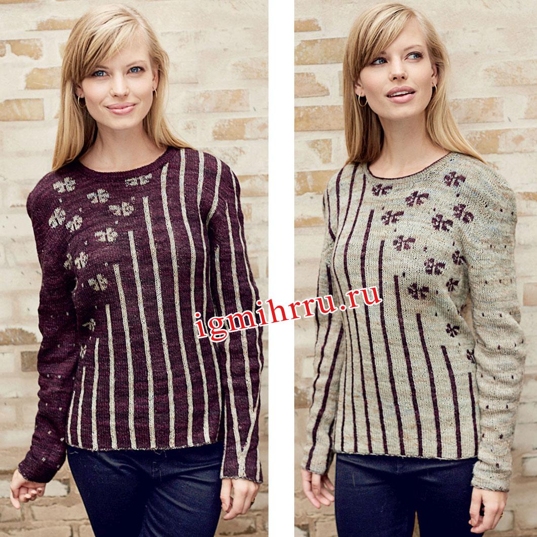 Двусторонний пуловер с цветами и вертикальными полосами. Вязание спицами