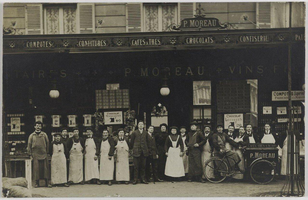 1905-1911. Продовольственные товары. Дом Проспера Моро, 1, Place Péreire. Сейчас на этом месте ресторан