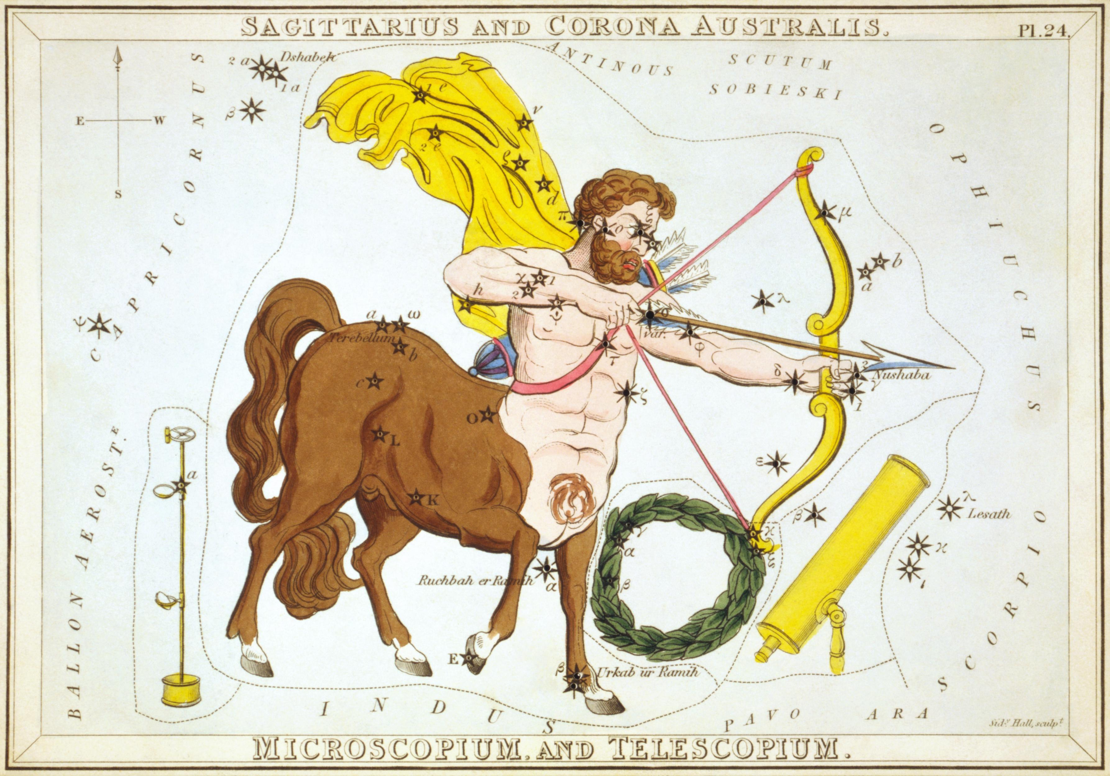 Карточка №24: Стрелец, Южная Корона, Микроскоп, и Телескоп