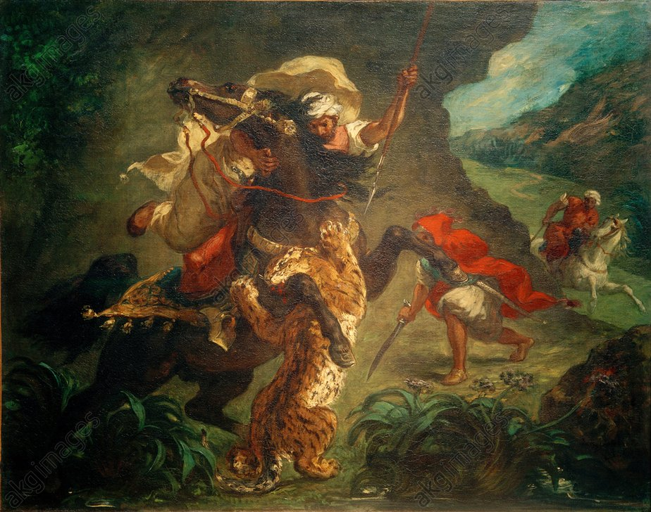 Eugиne Delacroix, Tigerjagd - - Eugиne Delacroix, Chasse au tigre