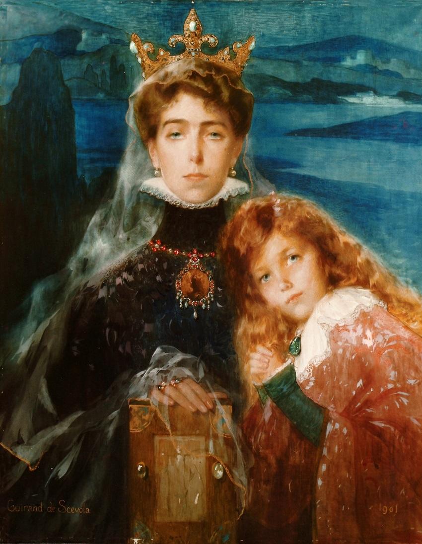 1901 Виктория Мелита Саксен-Кобург-и-Гота и ее дочь, принцесса Елизавета Гессен-и-Рейн.