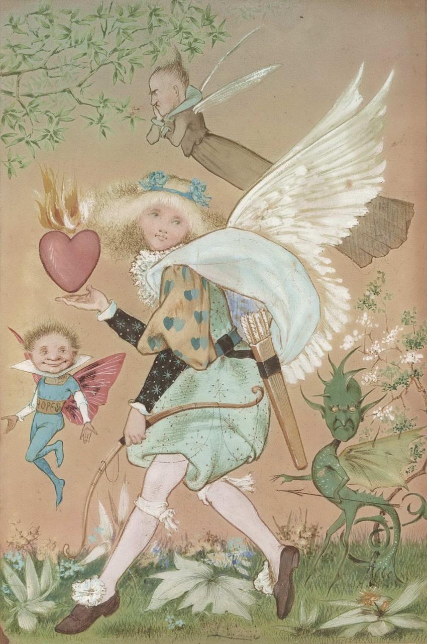 Горящее сердце с амуром, гоблином, ангелом и фигурками. Anon..jpg