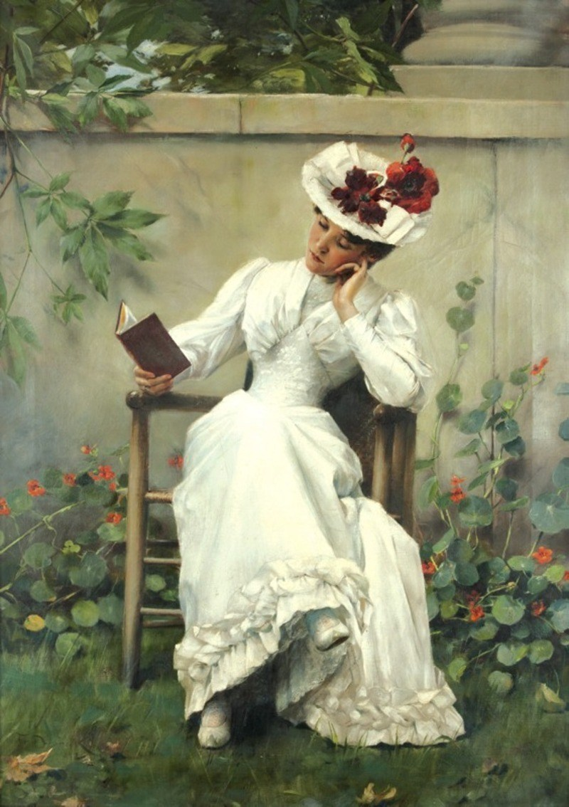 Lady With Book In Garden , 1892