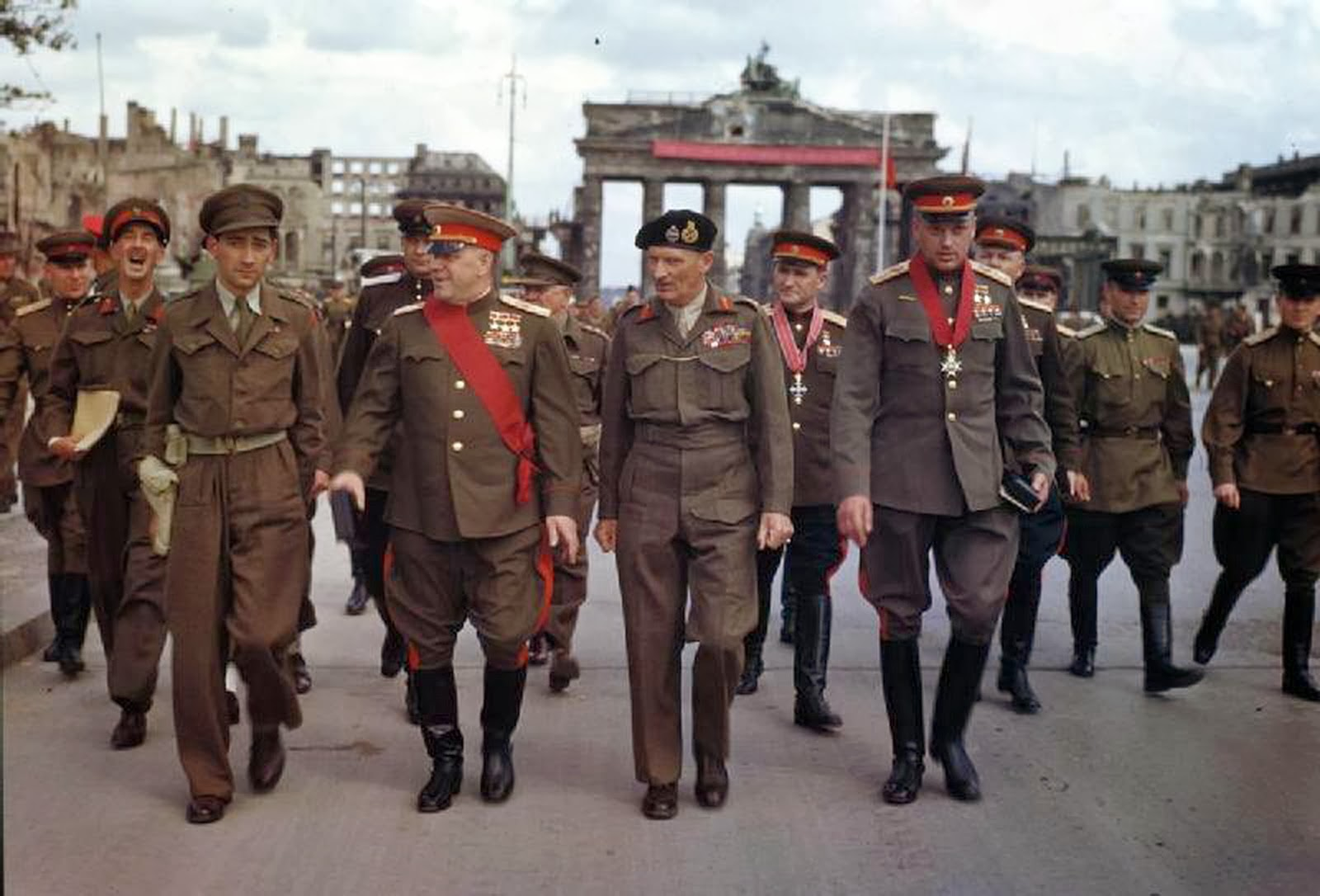 Allies at the Brandenburg Gate 1945 Berlin Montgomery Rokossovsky Sovolovsky award ceremony.jpg