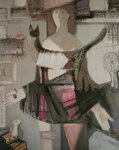 «Швея и кошка» 1998 Бумага, гуашь 100х80.jpg