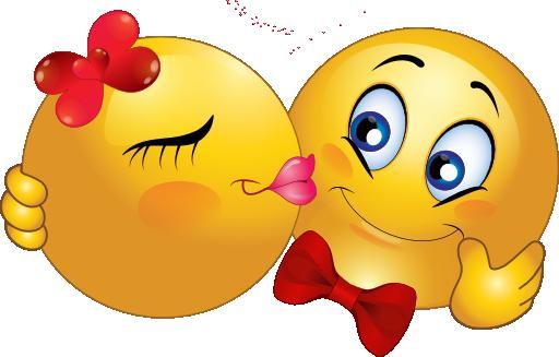 Открытка. С днем поцелуя! Смайлик-девочка целует смайлика-мальчика с бабочкой