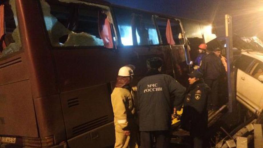 Натрассе под Красноярском перевернулся пассажирский автобус