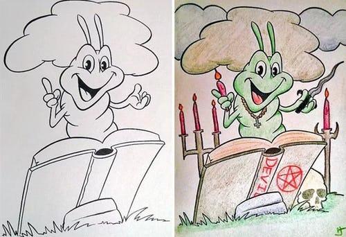 Как сломать людям психику набором цветных карандашей, или почему взрослым нельзя доверять раскраски? (8 фото)