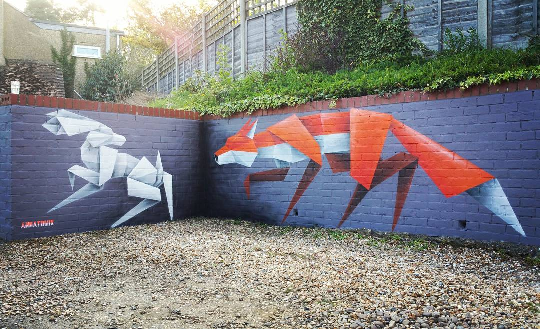 Origami Animals Bound Across Walls in Murals by 'Annatomix'