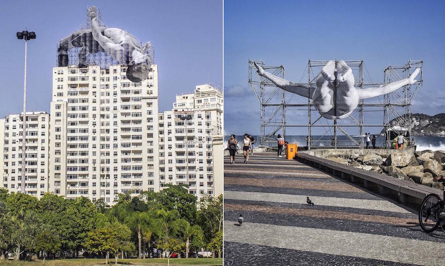 As part of the Rio Olympics, JR invested the streets of the city with giant black an white pictures