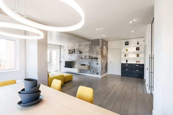 Brain Factory   designed this stunning contemporary apartment located in Rome, Ital