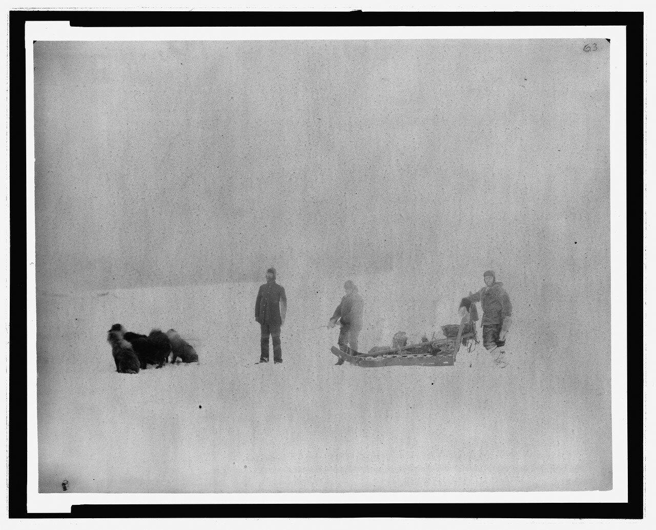 3c36188uЧлены экспедиции леди Франклин-бухты сержант. Jewell и Eskimo Christansen, начиная с Ft. Конгер для поддержки доктора Октава Пави, март 1882 года.jpg
