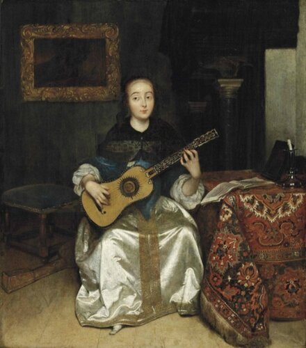 Caspar Netscher (Dutch, 1635-1684) An Elegant Woman playing the Guitar by a Draped Table, in an Interior.