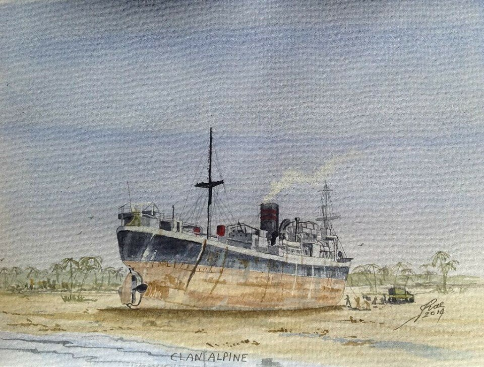 """""""Clan Alpine"""" ex """"Empire Barrie"""" 10/11/60. On her final trip to the breakers in Japan, while loaded with cargo, for discharge at Chittagong, she was blown ashore by a Cyclone."""