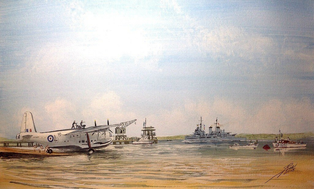 HMS Belfast steams past RAF Seletar flying boat base at Singapore. On her way to the Naval Base.