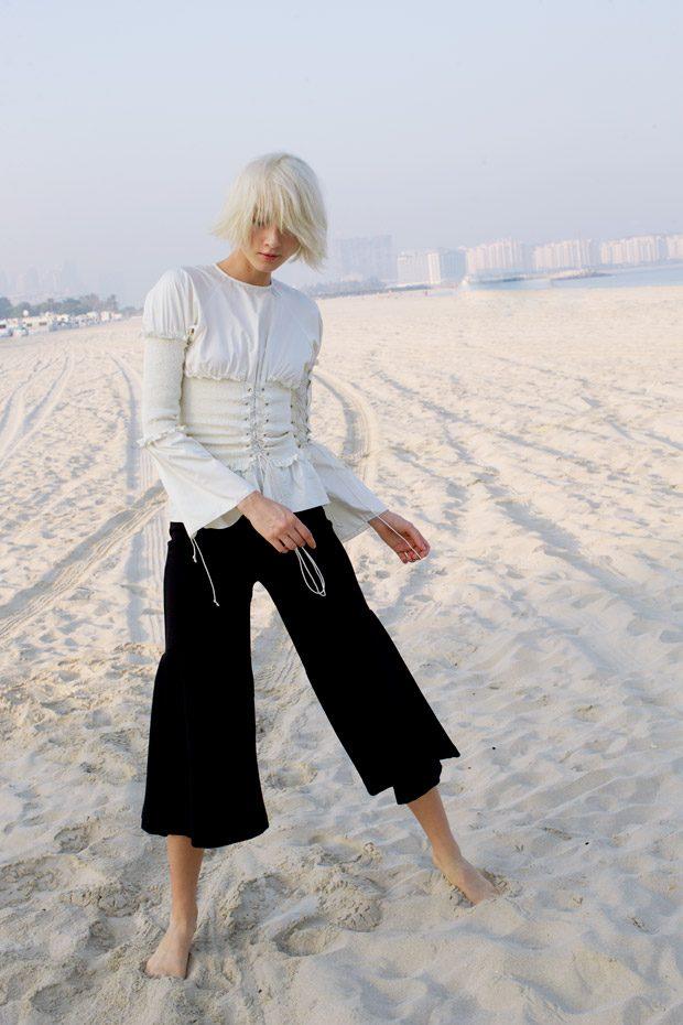 White Shirt: Anna Otober Black Trusers: H&M Studio