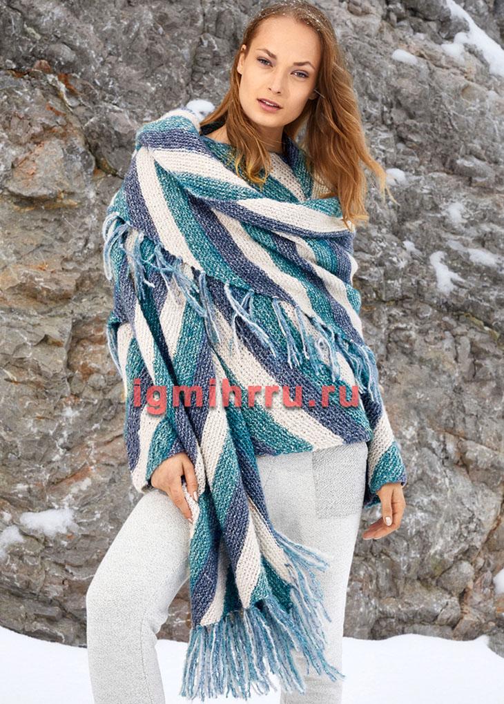 Стильный ансамбль из пуловера и шарфа в диагональную полоску. Вязание спицами