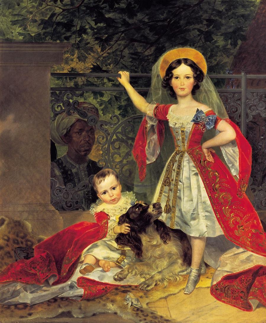 Портрет детей Волконских с арапом. 1843 Третьяковская галерея, Москва
